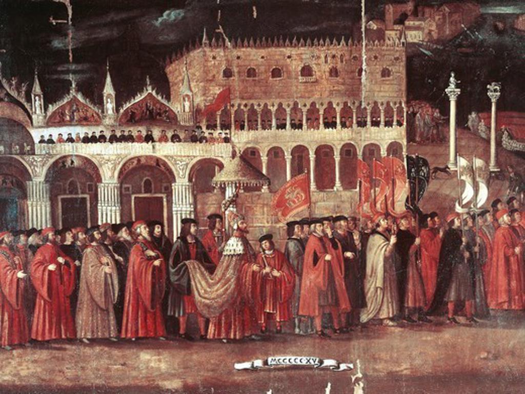 Caterina Cornaro procession in Piazza San Marco, Venice, 1489, 1515. Italian, 16th century. : Stock Photo