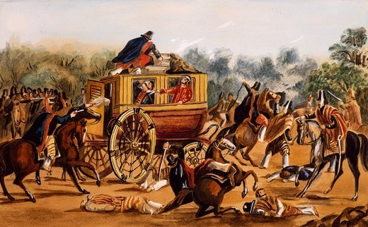 Assassination of General Quiroga, February 1835, watercolour by Carlos Lezica. Argentina, 19th century. : Stock Photo