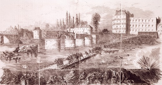 Stock Photo: 1788-52387 The last federal troops attempting to cross the Asnieres Bridge, April 17, 1871. Franco-Prussian War, France 19th century.