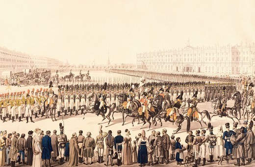 Stock Photo: 1788-52433 Journal of the Russian Imperial Infantry in St Petersburg, engraving and gouache. Russia, 19th century.
