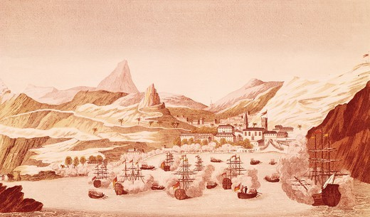 Stock Photo: 1788-52449 St Helena island port, October 17, 1815, engraving. Restoration, United Kingdom, 19th century.