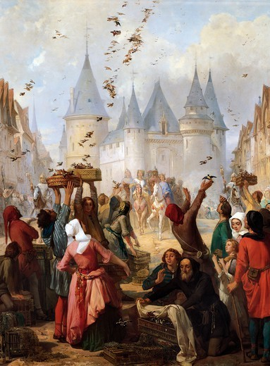 Stock Photo: 1788-52521 The return of St. Louis (1214-70) and Blanche of Castille (1188-1252) to Notre-Dame, Paris, painting by Pierre Charles Marquis (1798-1875).