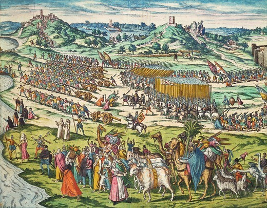 Stock Photo: 1788-52562 The conquest of Tunis by Charles V, 1535, by Franz Hogenberg (ca.1540-ca.1590), engraving. Tunisia, 16th century.