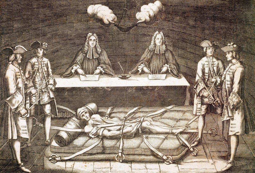 Stock Photo: 1788-52605 The interrogation and torture of Robert-Francois Damien known as Robert the Devil, 1757, engraving. France, 18th century.