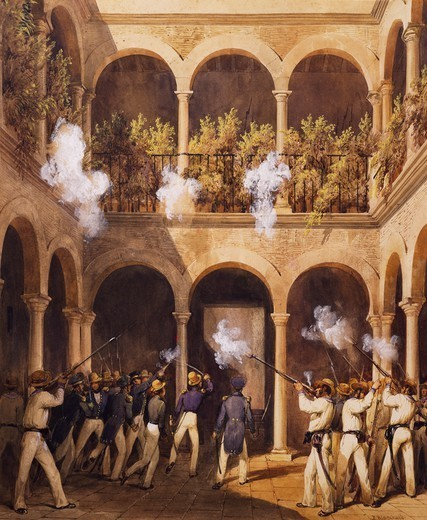 Stock Photo: 1788-52664 The attack on the home of General Santa Ana at Vera Cruz, September 27, 1838, watercolour. Mexico, 19th century.