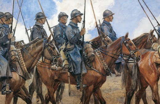 Dragoons in Champagne, April 1917, by Francois Flameng (1856-1923), watercolour. World War I, France, 20th century. : Stock Photo