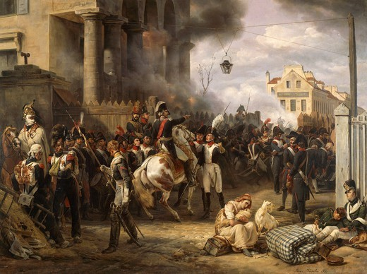 Stock Photo: 1788-52730 The barrier of Clichy erected to defend Paris, March 30, 1814, painting by Horace Vernet (1789-1863), 1820, oil on canvas, 97.5cm x 130.5cm.