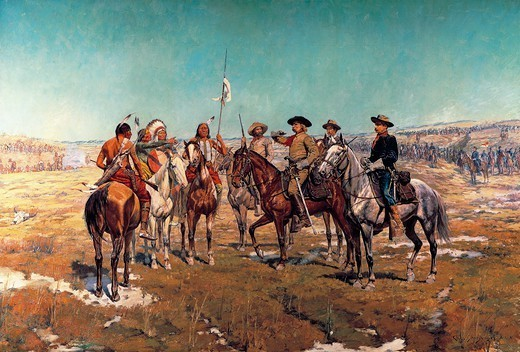 Stock Photo: 1788-52742 General Custer communicationg his conditions to the Native Americans, painting by Charles Schreyvogel (1861-1912). Native American Wars, United States, 19th century.
