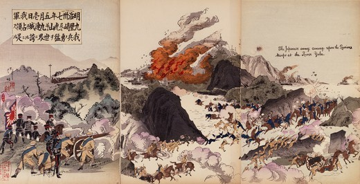 Stock Photo: 1788-52796 The Japanese army attacking the Russians on the Yalou River, 1904. Russo-Japanese War, North Korea-China, 20th century.