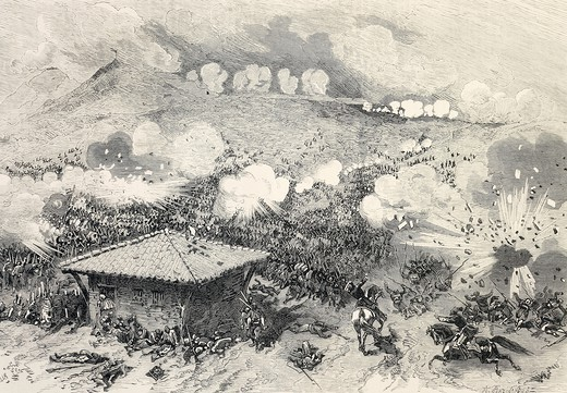 Stock Photo: 1788-52800 Battle of Shipka, Suleiman Pasha, leading forty battalions, launching a frontal attack on the heights of St. Nicholas defended by seven Russian battalions. Russo-Turkish War, Bulgaria, 19th century.