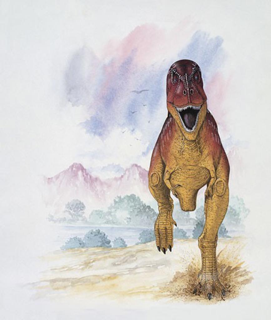 Dinosaur running on a landscape : Stock Photo