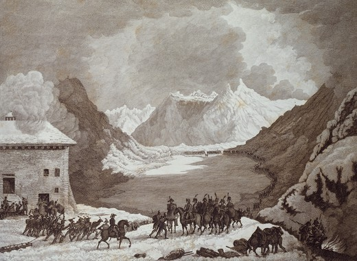 Stock Photo: 1788-53002 Napoleon's troops passing the Great St Bernard Pass, May 19, 1800. French Revolutionary Wars, Italy-Switzerland, 19th century.