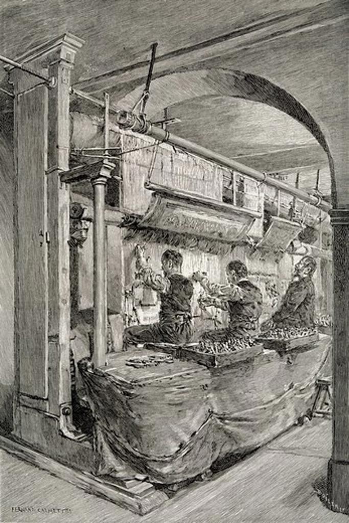 Gobelins manufactoring, the Revue de l'Exposition Universelle (World Fair) of 1889. Universal Exhibitions, France, 19th century. : Stock Photo