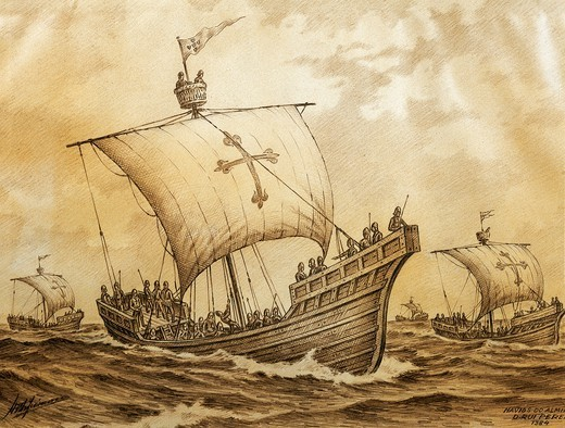 Stock Photo: 1788-53070 Drawing depicting Admiral Pereira's naval fleet, 1384. Portugal, 14th century.