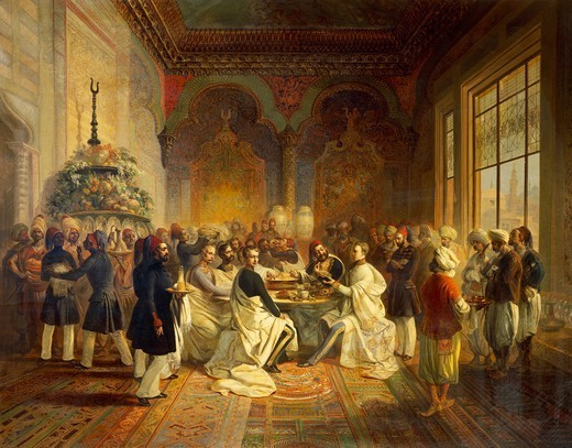 Stock Photo: 1788-53086 Lunch provided in Smyrna by Halim Pasha, from the trip of Maximilian of Habsburg and his brother Charles Louis in the Mediterranean, 1850, by Peter Johann Nepomuk Geiger (1805-1880), oil on canvas. Turkey, 19th century.