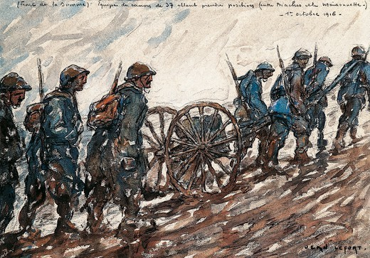 Stock Photo: 1788-53095 The Somme front, 1916, by Jean-Louis Lefort (1875-1954), watercolour. World War I, France, 20th century.