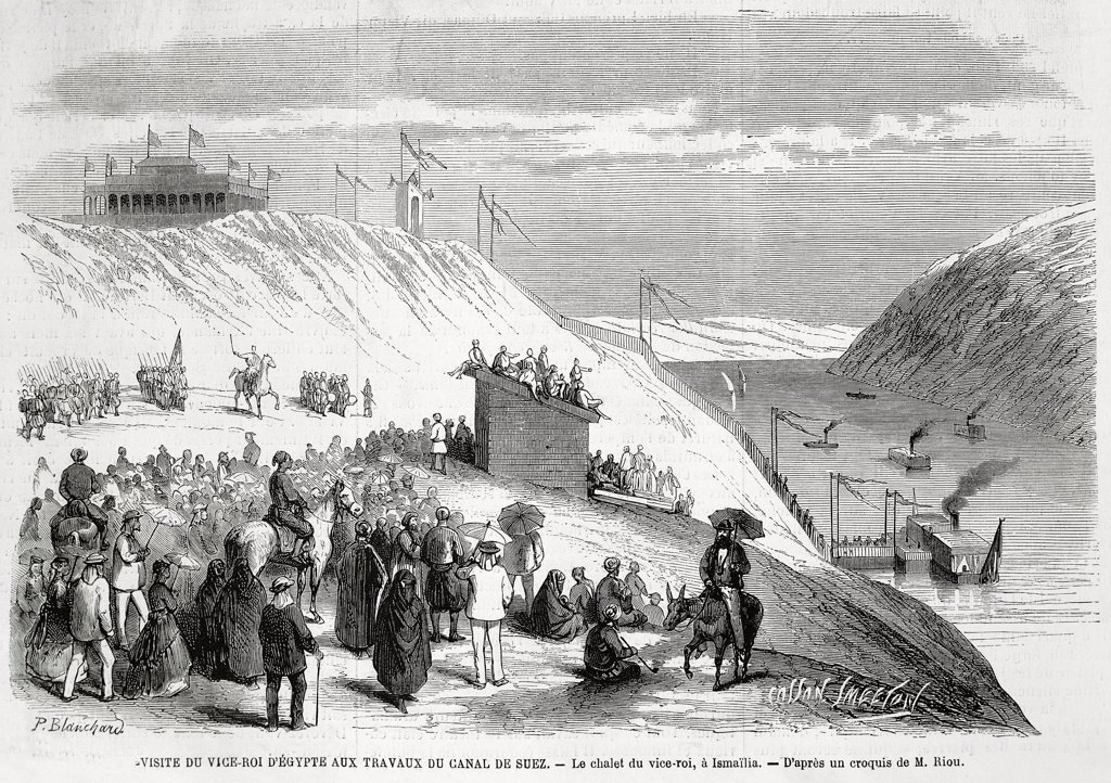 Stock Photo: 1788-53201 Visit of the Viceroy of Egypt to inspect the work on the Suez Canal, engraving from L'Illustration, 1869. Egypt, 19th century.