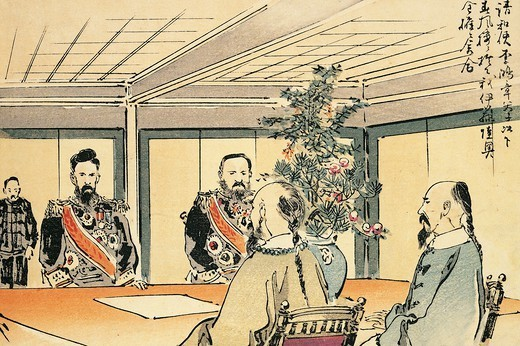 Stock Photo: 1788-53217 The meeting of plenipotentiaries for peace negotiations, 1895. First Sino-Japanese war, 19th century.