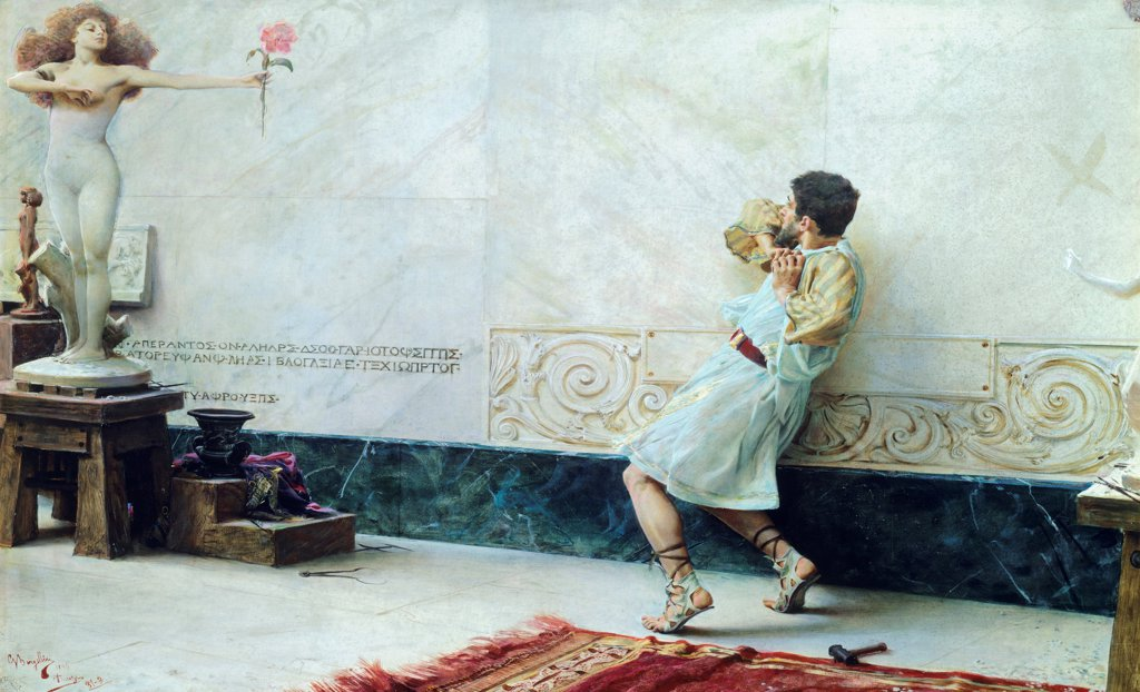 Stock Photo: 1788-53292 Pygmalion and Galatea, 1896, by Giulio Bargellini (1875-1936), oil on canvas, 90x130 cm.