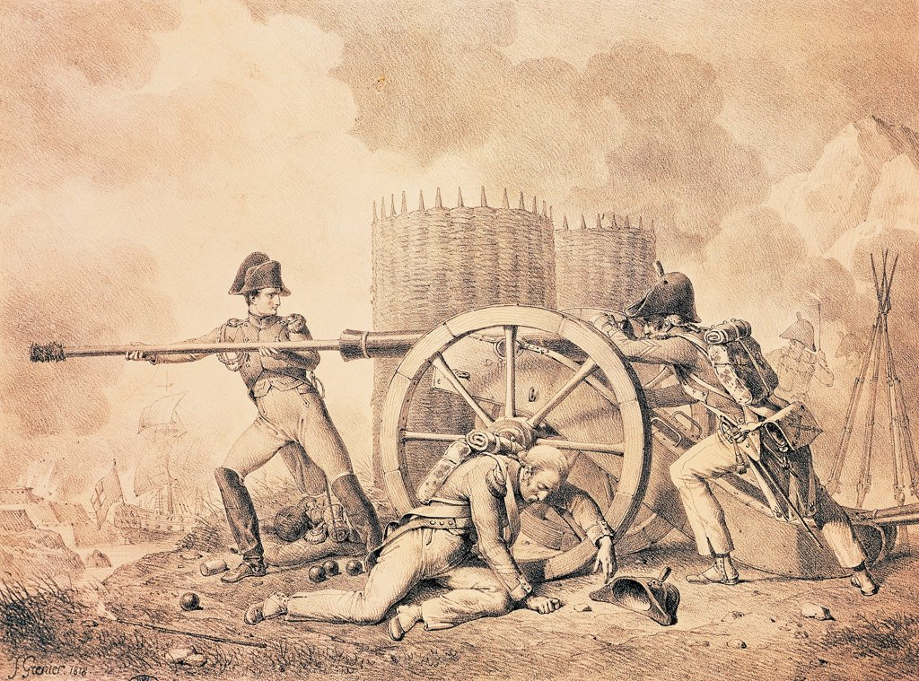 Attack on the Fort of Faron, December 18, 1793, during the siege of Toulon, lithograph by Francois Grenier, French Revolution, France, 18th century. : Stock Photo