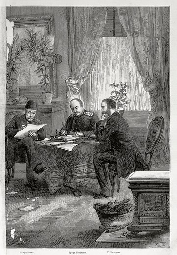 Stock Photo: 1788-53310 Signing of the Treaty of Santo Stefano with the Pasha Safet and Nikolai Pavlovich Ignatev, March 3, 1878. Russo-Turkish War, Turkey, 19th century.
