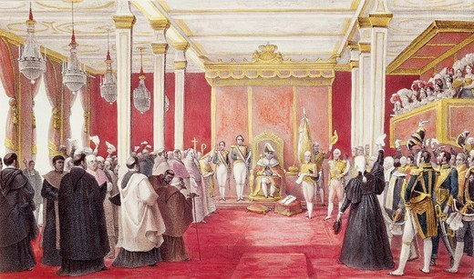 Stock Photo: 1788-53323 Acclamation of King John VI in Rio de Janeiro, painting by Jean-Baptiste Debret (1768-1848) for the book A colourful and historic journey to Brazil. Brazil, 19th century.