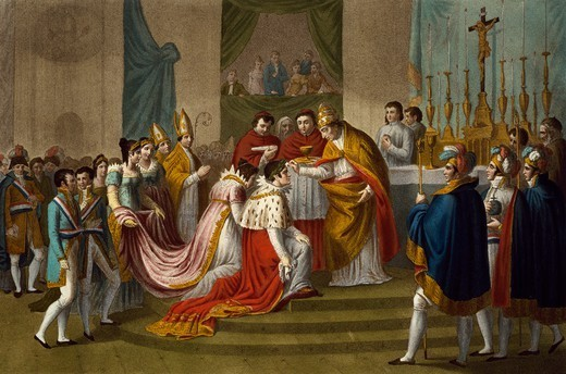 Stock Photo: 1788-53345 Pius VII crowning Napoleon and Josephine, December 1804, in Notre Dame in Paris. Napoleonic era, France, 19th century.