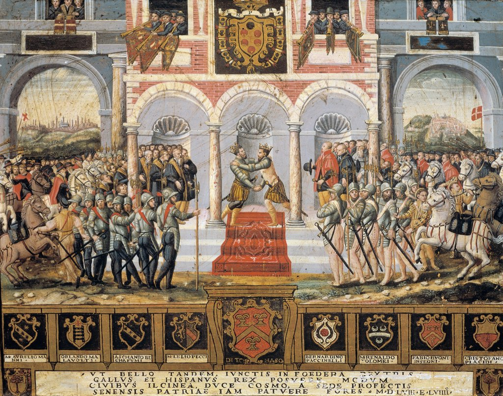 Stock Photo: 1788-53384 The Peace of Cateau-Cambresis, in 1559, painted wooden board from Siena, 16th century.