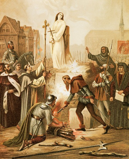 Joan of Arc at the stake, May 30, 1431, painting by Frederic Legrip (1817-1871), 1861. : Stock Photo