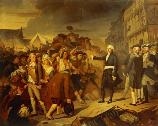 Stock Photo: 1788-53417 Jean-Baptiste Carrier, Jacobin and representative of the Convention, seeking to prevent a riot in Nantes during the Reign of Terror of the French Revolution, 1793. France, 18th century.