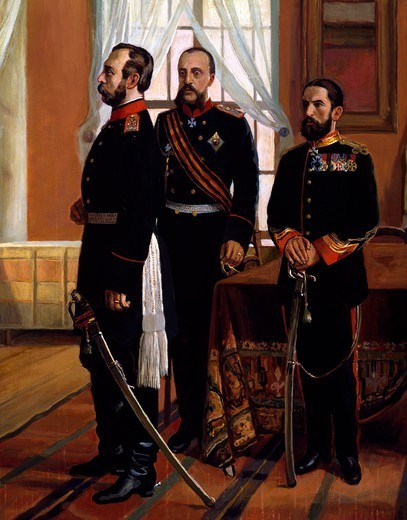 Osman Nuri Pasha surrendering to Tsar Alexander II. Detail. Russo-Turkish War, 19th century. : Stock Photo