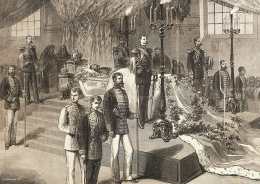 The mortal remains of Tsar Alexander II Romanov exhibited in St Peter and Paul Cathedral in St Petersburg, March 19, 1881, engraving. Russia, 19th century. : Stock Photo