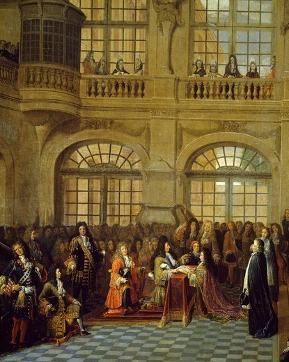 Stock Photo: 1788-53719 Louis XIV receiving the oath of the Marquis De Dangeau, Grand Master of the Order of St. Lazarus in the chapel of Versailles, December 18, 1695, detail from a painting by Antoine Pezey (active between 1695 and 1710). France, 17th century.