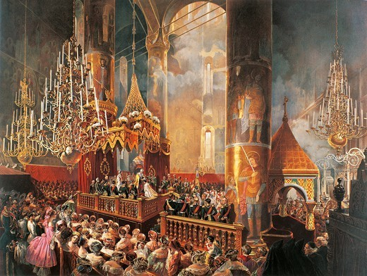 The coronation of Tsar Alexander II Romanov in 1856, colour lithograph. Russia, 19th century. : Stock Photo