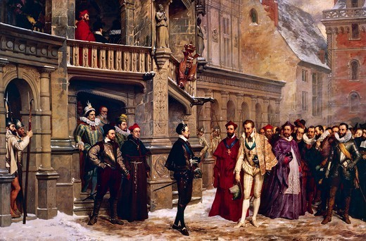 Stock Photo: 1788-53766 Henri III (1551-1589) and the Duke of Guise in Blois on December 22, 1588, painting by Pierre Charles Comte (1823-1895). France, 16th century.