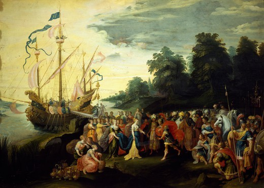 Stock Photo: 1788-53796 Cleopatra landing at Tarsus, 42 BC, by Frans Francken II (1581-1642). Republican Age, Turkey, 1st century BC.