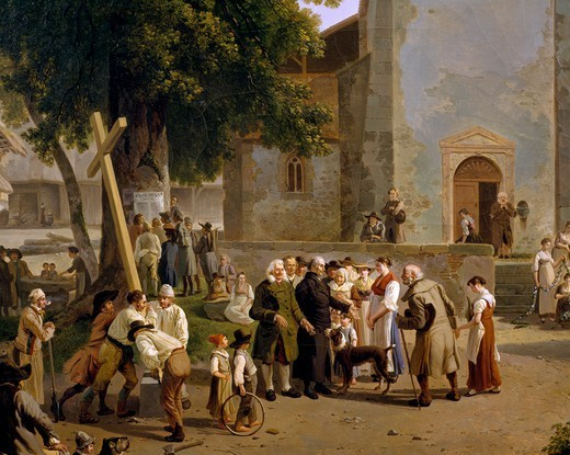 Resumption of worship after the French Revolution, detail from a painting by Wolfgang Adam Topffer (1765-1847). France, 19th century. : Stock Photo