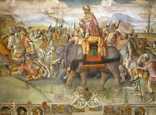 Stock Photo: 1788-53816 Hannibal crossing the Alps, 218 BC, by Jacopo Ripanda (active ca 1500-1516), ca 1510, fresco from the Conservatories Palace, Rome. Detail. Second Punic War, Italy, 3rd century BC.