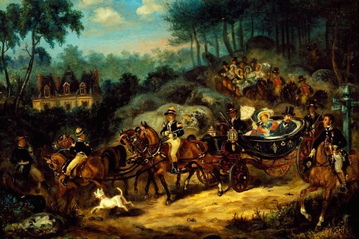 Napoleon III and Empress Eugenie on a horse and carriage ride. France, 19th century. : Stock Photo