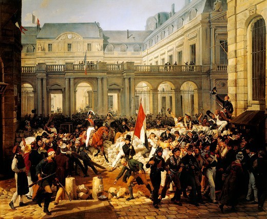 Louis Philippe d'Orleans leaving the Royal Palace, July 31, 1830, painting by Horace Vernet (1789-1863), 1833, oil on canvas, 228x258 cm. Restoration, France, 19th century. : Stock Photo