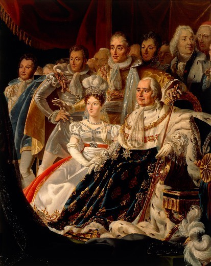 Stock Photo: 1788-53840 Carolina of Bourbon-Two Sicilies being presented at Henry's Court, Duke of Bordeaux, later Count of Chambord, posthumous son of Charles of Artois, Duke of Berry, painting by Charles Nicolas Raphael Lafond (1774-1835). Detail. Restoration, France, 19th century.