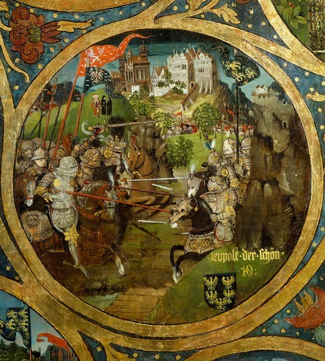 Leopold III of Babenberg (1073-1136) at the Battle of Mailberg, in the background the Abbey of Melk. Detail of a triptych made in 1489-1492 by Hans Part, oil on panel. Austria, 12th century. : Stock Photo