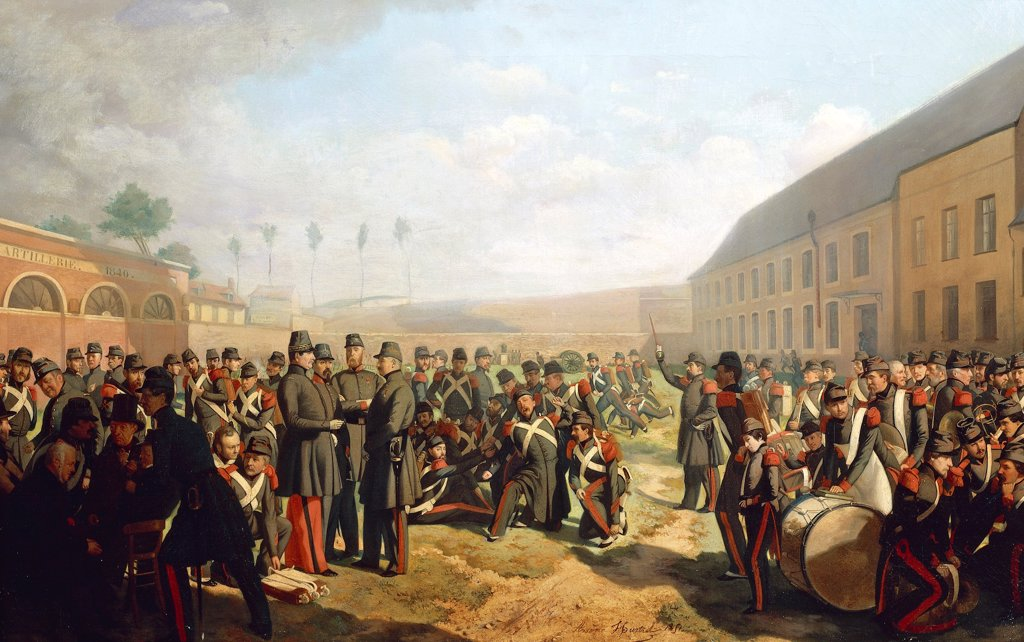 Stock Photo: 1788-53864 Lille gunners in 1849, by Arsene Hurtel. Second Republic, France, 19th century.