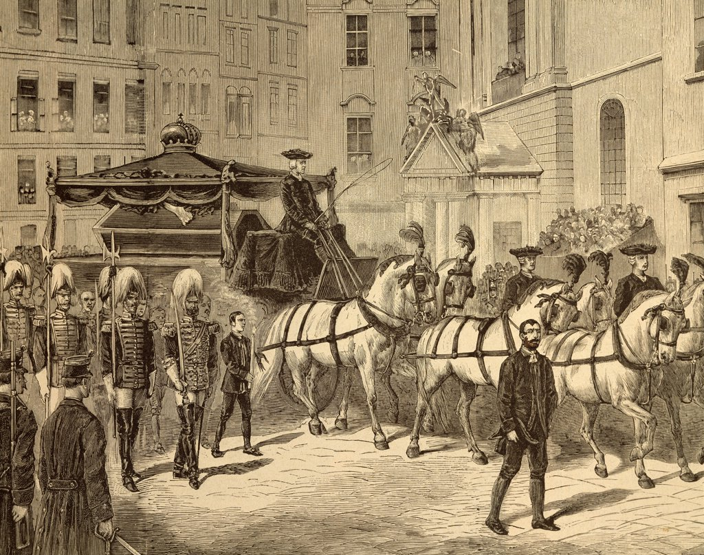 The funeral procession with the corpse of Rudolph of Habsburg arriving at the Capuchins crypt in Vienna, February 1889. Austria, 19th century. : Stock Photo