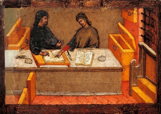 Stock Photo: 1788-53892 Chamberlain with his secretary in his office, 1394, attributed to Paolo di Giovanni Fei (ca 1345-ca 1411). Middle Ages, Italy, 14th century.