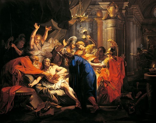 Stock Photo: 1788-53900 The death of Cato, 149 BC, by Jean Baptiste Corneille (1649-1695), 1687, oil on canvas, 131x163 cm. Republican age, Italy, 2nd century BC.