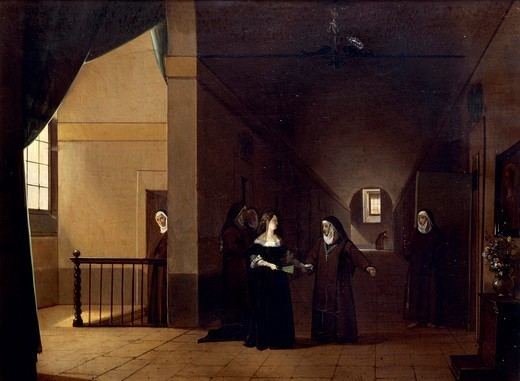 Stock Photo: 1788-53901 Mademoiselle de La Valliere entering the convent, by Francois Marius Granet (1777-1849). France, 18th century.