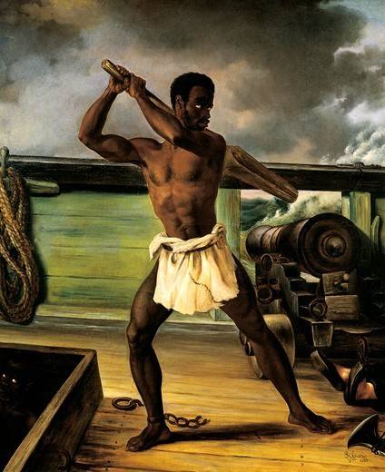 A slave rebellion on a slaveship, 1833, by Edouard Antoine Renard (1802-1857), oil on canvas. Slavery, Caribbean, 19th century. : Stock Photo
