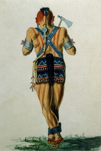 Stock Photo: 1788-53915 Mohawk squaw, watercolour. Native American Civilization, United States, 18th century.
