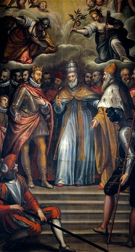 Alliance of Filippo II of Spain, the Doge Venier and Pope Pius V against the Turks, 1571, by Alessandro Maganza (1556-after 1630). Holy League, Italy-Spain, 16th century. : Stock Photo